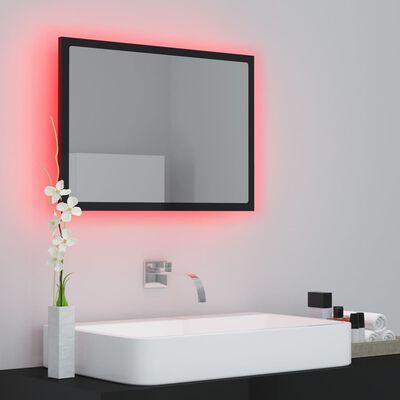 vidaXL Badkamerspiegel LED 60x8,5x37 cm spaanplaat hoogglans zwart