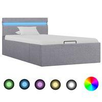 vidaXL Bedframe met opslag en LED stof lichtgrijs 90x200 cm