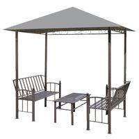vidaXL Tuinpaviljoen met tafel en bankjes 2,5x1,5x2,4 m antraciet
