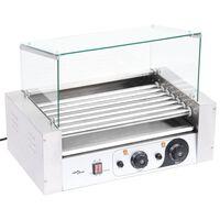 vidaXL Hotdog grill 7 rollers met glazen afdekking 1400 W