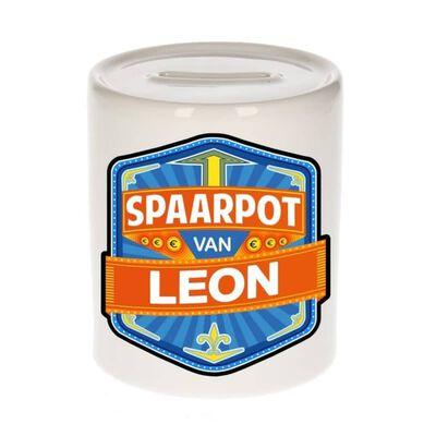 Kinder spaarpot voor Leon - keramiek - naam spaarpotten