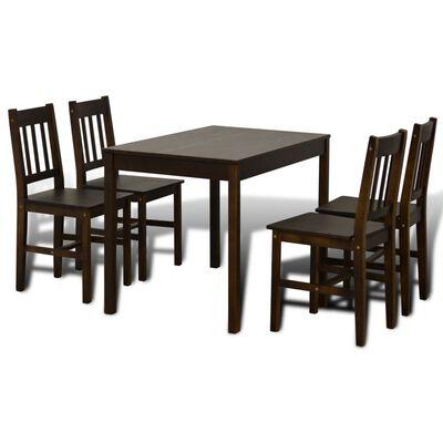 vidaXL Eettafel met 4 stoelen hout bruin