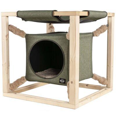 Quapas! Kattenbed met hangmat Catcube L 62,5x62,5x62,5 cm groen