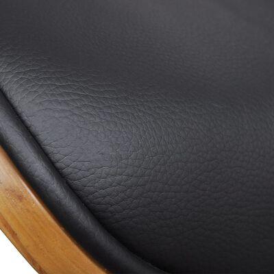 vidaXL Eetkamerstoelen 2 st gebogen hout en kunstleer , Blackanddarkbrown