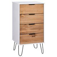 vidaXL Ladekast 45x39,5x90,3 cm grenenhout lichthoutkleurig en wit