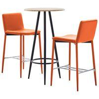 vidaXL 3-delige Barset kunstleer oranje