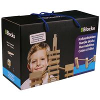 BBlocks Knikkerblokken set bruin hout 34 st BBLO890301,