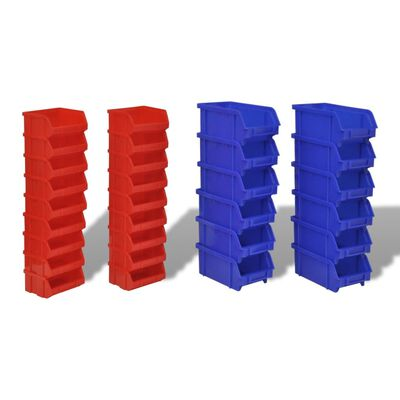 vidaXL 30-delige Opbergrek voor aan de wand blauw en rood