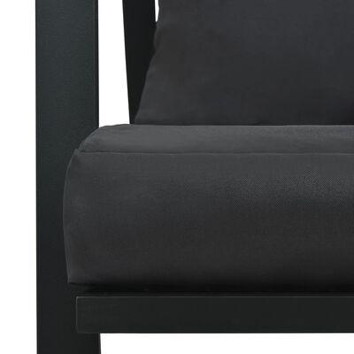 vidaXL Tuinbank 2-zits met kussens aluminium donkergrijs