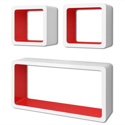 vidaXL Wandplanken kubus 6 st wit en rood