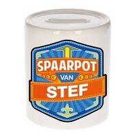 Kinder spaarpot voor Stef - keramiek - naam spaarpotten