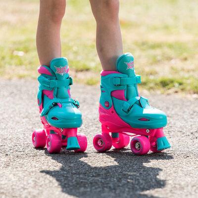 Xootz rolschaatsen Quad Skates meisjes turquoise/roze maat 32/35