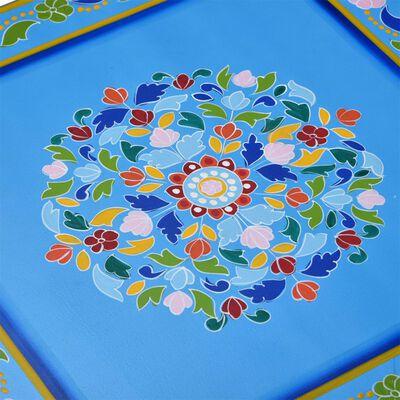 vidaXL Salontafel handgeschilderd massief mangohout turquoise