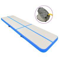 vidaXL Gymnastiekmat met pomp opblaasbaar 800x100x20 cm PVC blauw
