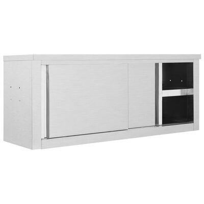 vidaXL Keukenwandkast met schuifdeuren 120x40x50 cm roestvrij staal