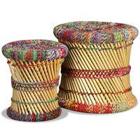 vidaXL Krukken met chindi details 2 st bamboe meerkleurig
