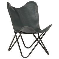 vidaXL Vlinderstoel echt leer grijs