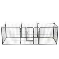 vidaXL Hondenren met 16 panelen 80x80 cm staal zwart ,
