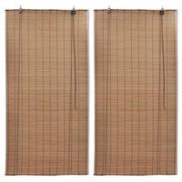 vidaXL Rolgordijnen 2 st 80x160 cm bamboe bruin