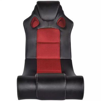 vidaXL Schommelstoel met muziek kunstleer zwart en rood