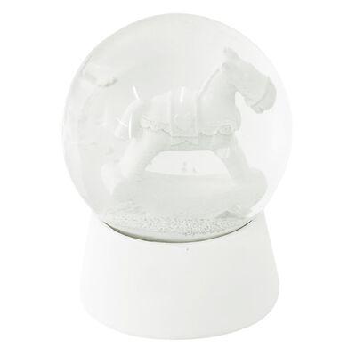 Sneeuwbol    Ø 7*8 cm   Wit   Polyresin / glas   rond   hobbelpaard  