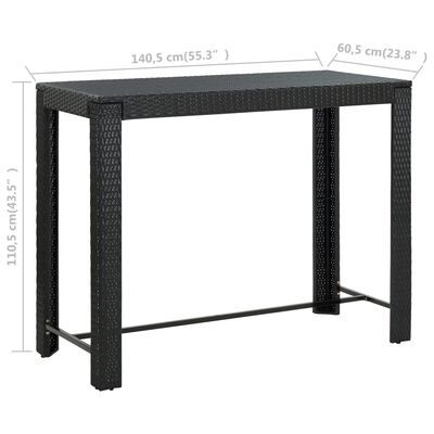 vidaXL Tuinbartafel 140,5x60,5x110,5 cm poly rattan zwart