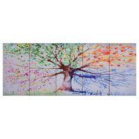vidaXL Wandprintset regenboom 150x60 cm canvas meerkleurig