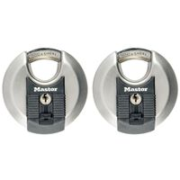Master Lock Discus hangslot Excell 70 mm roestvrij staal 2 st M40EURT