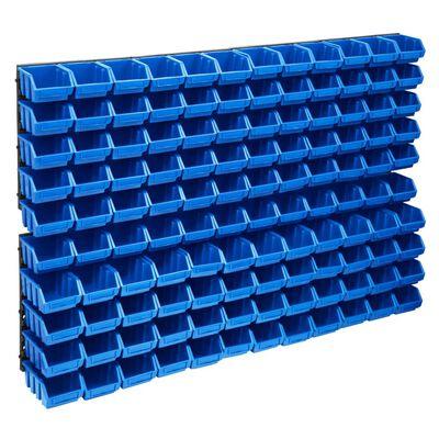 vidaXL 128-delige Opslagbakkenset met wandpanelen blauw en zwart