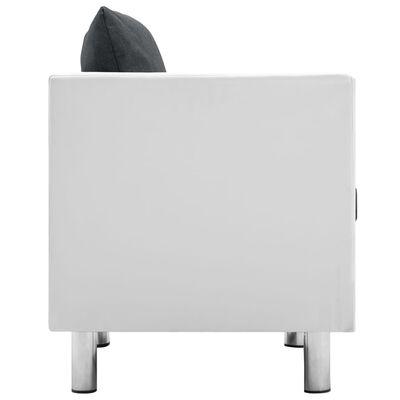 vidaXL Fauteuil kunstleer wit en donkergrijs