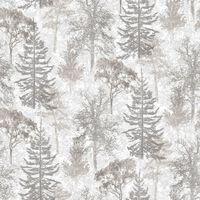 Evergreen Behang Trees wit en grijs