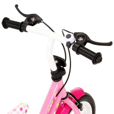 vidaXL Kinderfiets 12 inch wit en roze