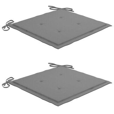 vidaXL Tuinstoelen 2 st met grijze kussens massief teakhout