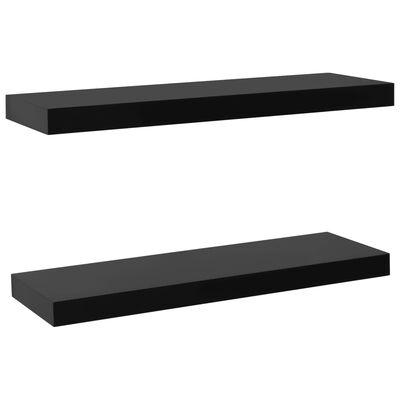 vidaXL Wandschappen zwevend 2 st 60x20x3,8 cm zwart