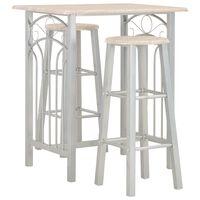 vidaXL 3-delige Barset hout en staal