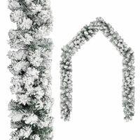 vidaXL Kerstslinger met sneeuwvlokken 10 m PVC groen