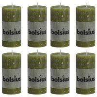 Bolsius Rustiekkaarsen 8 st 100x50 mm olijfgroen