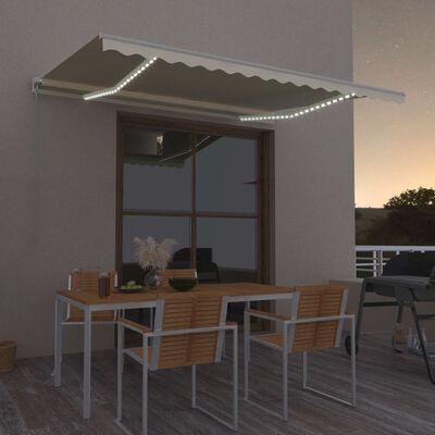 vidaXL Luifel handmatig uittrekbaar met LED 400x300 cm crèmekleurig