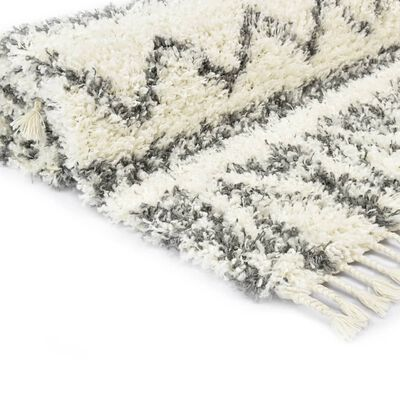 vidaXL Tapijt Berber shaggy hoogpolig 140x200 cm PP beige en grijs
