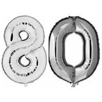 80 jaar zilveren folie ballonnen 88 cm leeftijd/cijfer -