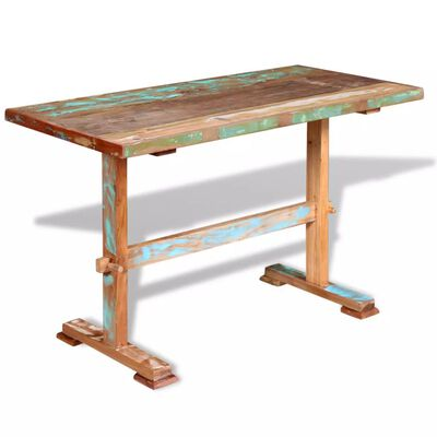 vidaXL Eettafel op voet 120x58x78 cm massief gerecycled hout