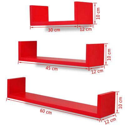 Wandplanken U-vormig MDF zwevend voor boeken/dvd 3 st rood