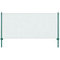 vidaXL Draadgaashek met palen 25x0,5 m staal groen