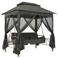 vidaXL Schommelbank voor buiten met dak 220x160x240 cm staal antraciet