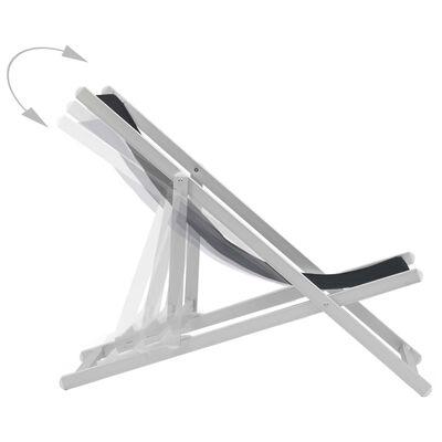 vidaXL Strandstoelen inklapbaar 2 st aluminium en textileen zwart