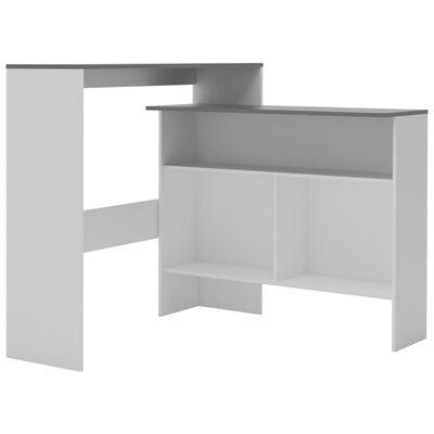 vidaXL Bartafel met 2 tafelbladen 130x40x120 cm wit en grijs
