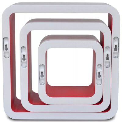 Wandplanken kubus MDF zwevend voor boeken/dvd 3 st wit-rood