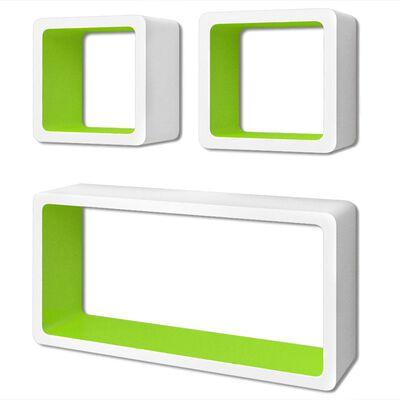 Wandplanken kubus MDF zwevend opbergruimte boeken/dvd 3 st wit-groen