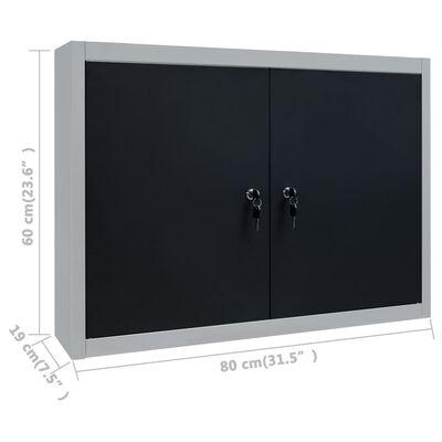 vidaXL Gereedschapskast voor aan de wand metaal grijs en zwart