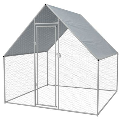 vidaXL Buitenhok voor kippen 2x2x1,92 m gegalvaniseerd staal